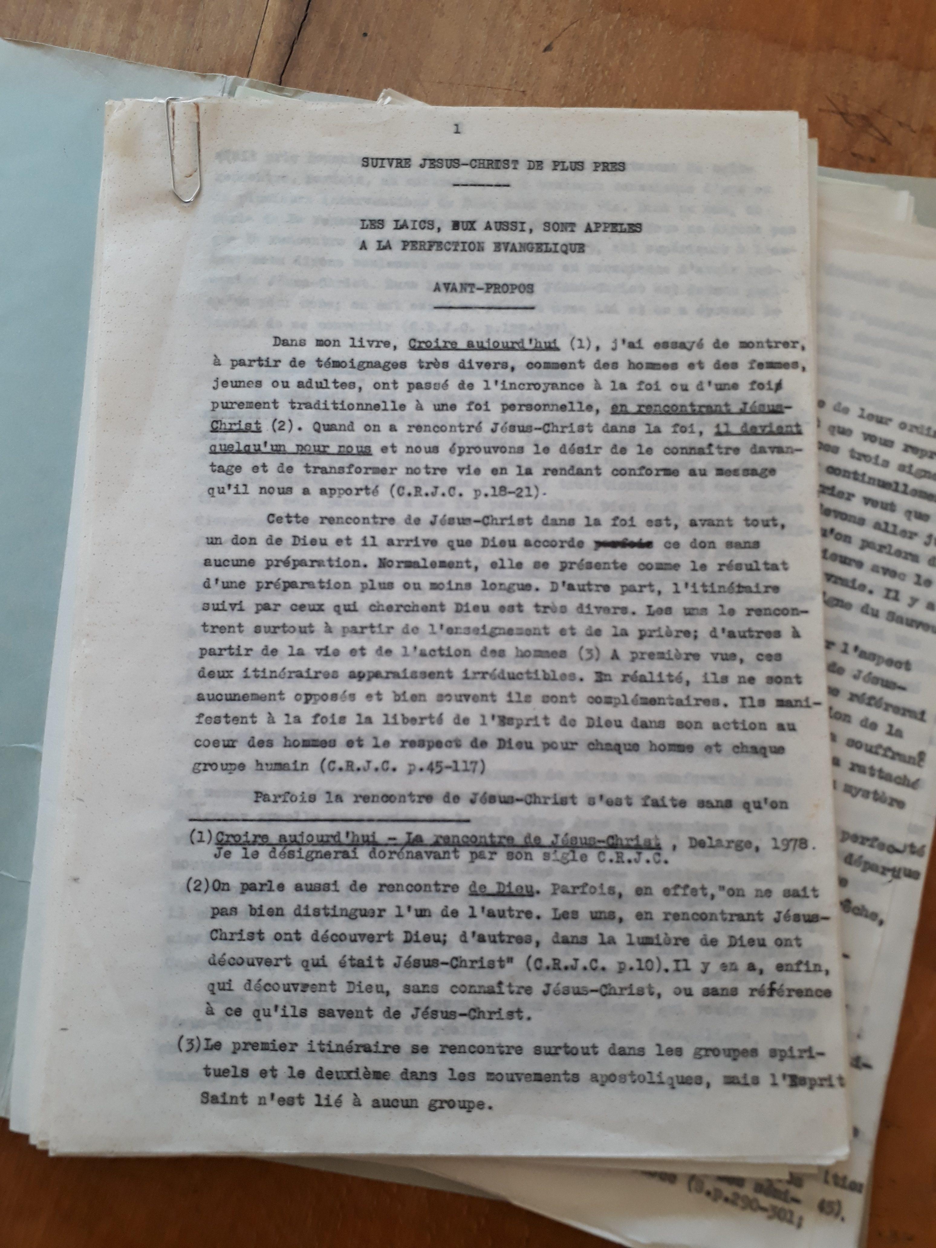Un manuscrit inédit de Mgr ANCEL sur les laïcs