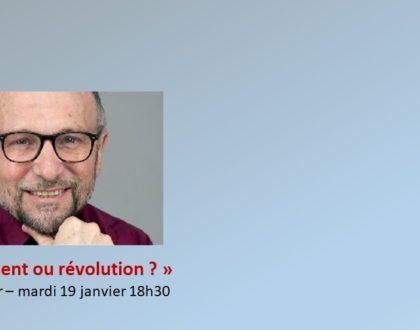 Mardi 19 janvier 2021, 18h30 : en direct, la conférence de William Clapier